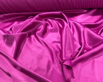 Magenta 95 Percent  Polyester 5% Spandex, 58 Inches Wide Matte Stretch L'Amour Satin Fabric, Sold By The Yard.