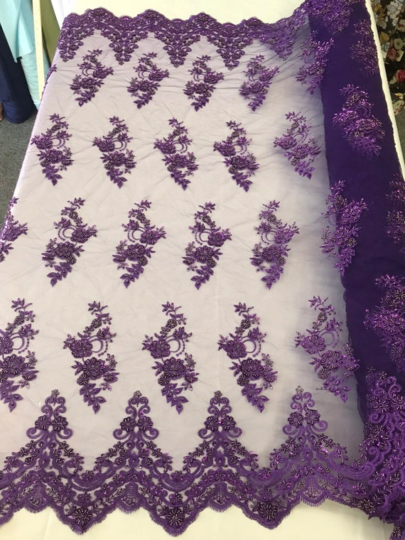 Purple hand beaded floral design embroidery with shiny sequins on a mesh lace-dresses-fashion-apparel-prom-nightgown-sold by the yard.