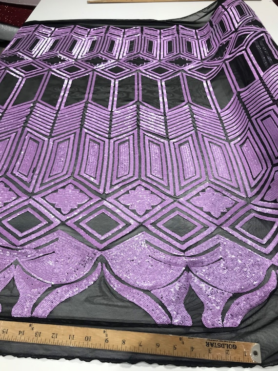 Lavender sequin geometric diamond design on a 4 way stretch black mesh fabric-prom-nightgown-sold by the yard-free shipping in USA-