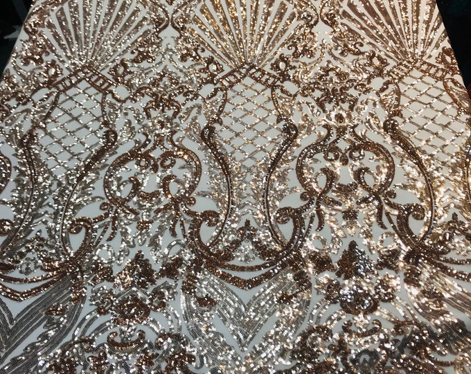 Rose gold shiny sequin damask design on a 4 way stretch mesh-prom-nightgown-sold by the yard-free shipping in the usa-