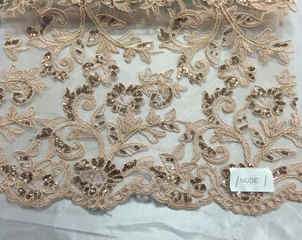 Nude corded flowers embroider with sequins on a mesh lace fabric-wedding-bridal-prom-nightgown-sold by the yard-