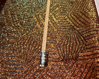 Orange iridescent sequin geometric diamond design on a 2 way stretch black mesh fabric-prom-nightgown-sold by the yard-free shipping in USA-