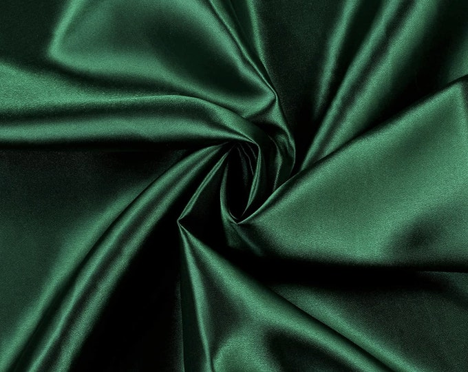 """Hunter Green Charmeuse Bridal Solid Satin Fabric for Wedding Dress Fashion Crafts Costumes Decorations Silky Satin 58"""" Wide Sold By The Yard"""