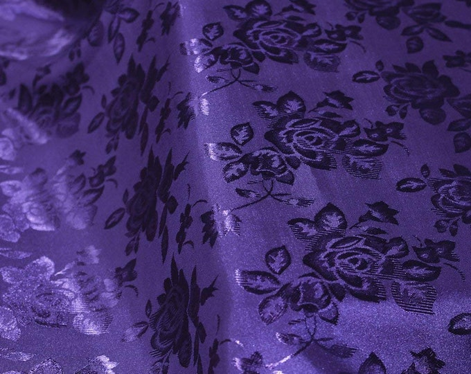 """Purple 60"""" Wide Polyester Flower Brocade Jacquard Satin Fabric, Sold By The Yard."""