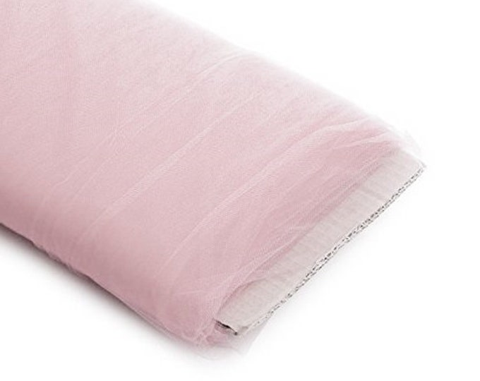 """Rose Gold 54"""" Wide by 40 Yards Long (120 Feet) Polyester Tulle Fabric Bolt, for Wedding and Decoration."""