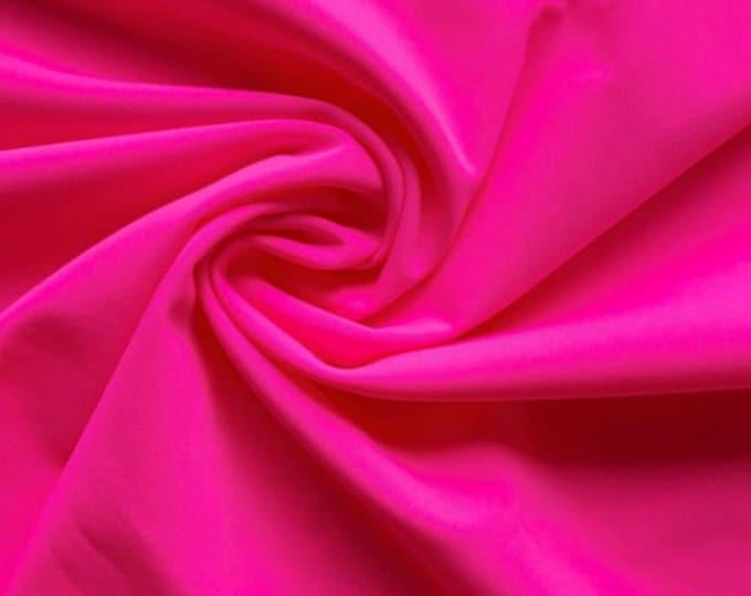 "Neon pink Shiny Milliskin Nylon Spandex Fabric 4 Way Stretch 58"" Wide Sold by The Yard"