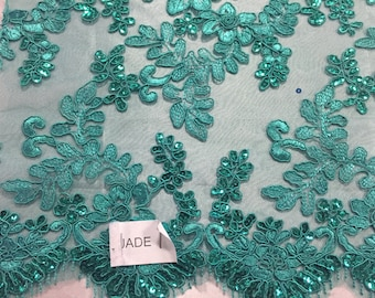 Jade corded flowers embroider with sequins on a mesh lace fabric-yard-