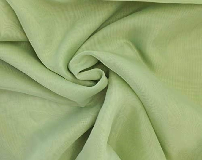 """Sage 58/60"""" Wide 100% Polyester Soft Light Weight, Sheer, See Through Chiffon Fabric Sold By The Yard."""