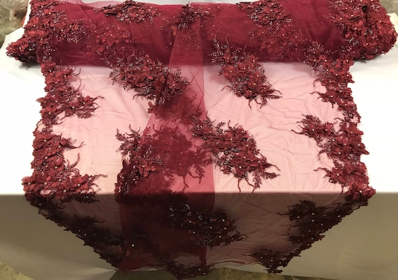 Burgundy princess 3d floral design embroider with beads and rhinestones on a mesh lace-dresses-fashion-apparel-nightgown-prom-sold by yard.