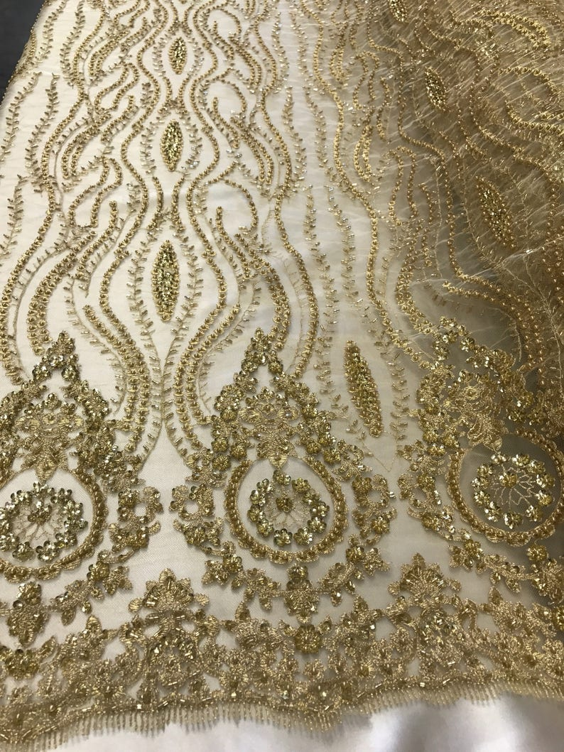Gold hand beaded lace fabric embroider with metallic tread on  d9c150b95cbe