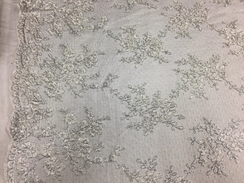 Sensational metallic white flowers Embroider And Corded On a Polkadot Mesh Lace-prom-nightgown-decorations-dresses-sold by the yard.