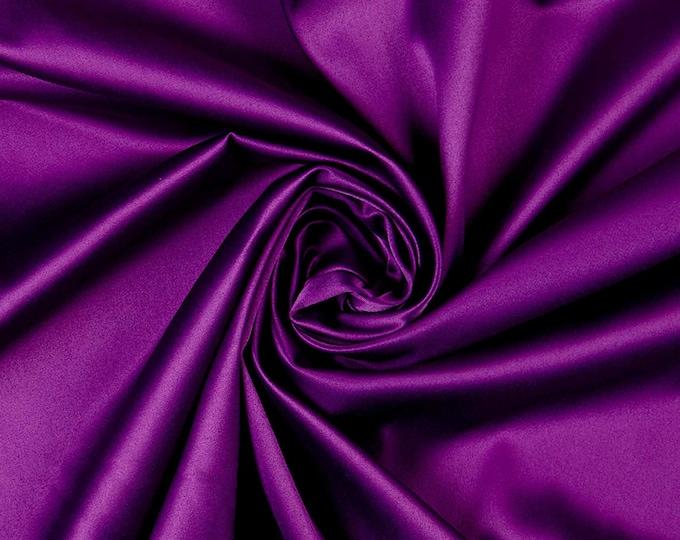 "Jewel purple Matte Satin (Peau de Soie) Duchess Fabric Bridesmaid Dress 58""-60"" Wide Sold By The Yard."