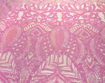 Candy pink iridescent royalty design on a pink 4 way stretch mesh-prom-sold by the yard.