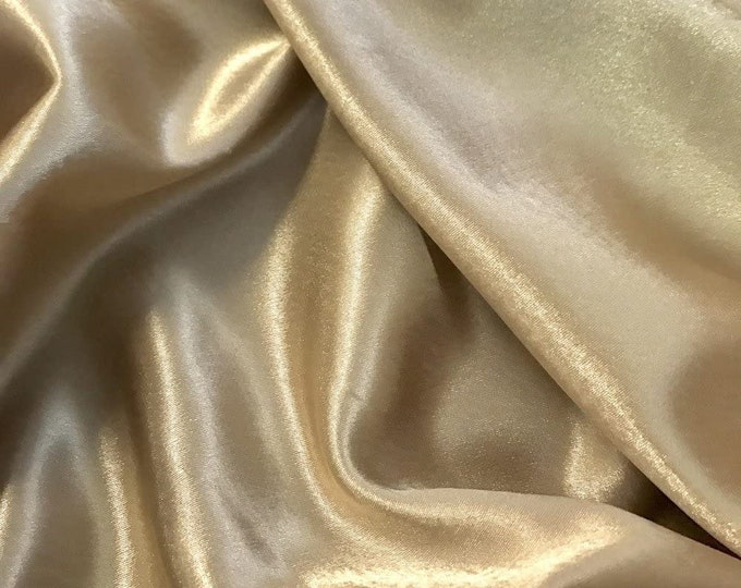"""Champagne Crepe Back Satin Bridal Fabric Draper-Prom-wedding-nightgown- Soft 58""""-60"""" Inches Sold by The Yard."""
