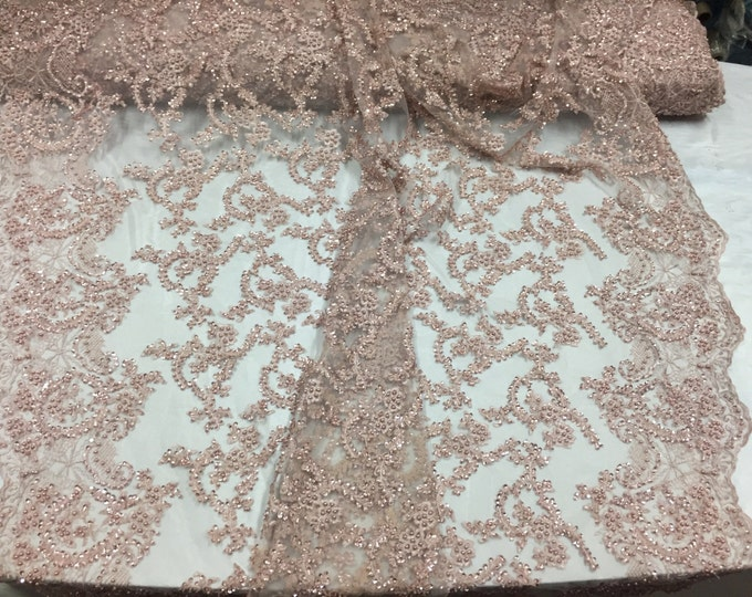 Majestic blush vine design embroider and heavy beading on a mesh lace-prom-nightgown-decorations-dresses-sold by the yard.