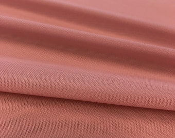 """Dusty Rose 58/60"""" Wide Solid Stretch Power Mesh Fabric Nylon Spandex Sold By The Yard."""
