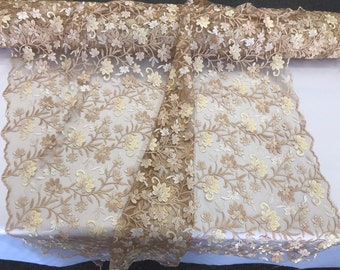 Champagne/light yellow multi color floral design embroidery on a mesh lace-dresses-apparel-prom-nightgown-sold by the yard.
