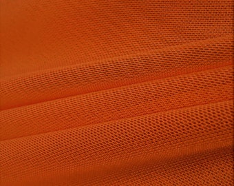 """Burnt Orange 58/60"""" Wide Solid Stretch Power Mesh Fabric Nylon Spandex Sold By The Yard."""