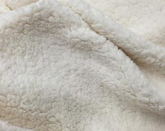 Ivory Cuddle Minky Sherpa Fleece,lamb Wool Design Fabric.Sold By The Yard.