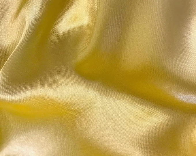 """Light Gold Charmeuse Bridal Solid Satin Fabric for Wedding Dress Fashion Crafts Costumes Decorations Silky Satin 58"""" Wide Sold By The Yard"""