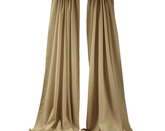 Taupe 2 Panels Backdrop Drape, All Sizes Available in Polyester Poplin, Party Supplies Curtains.