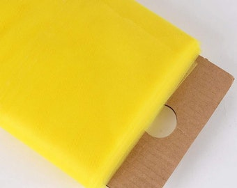"""Bright yellow 54"""" Wide by 40 Yards Long (120 Feet) Polyester Tulle Fabric Bolt, for Wedding and Decoration."""