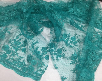 Sensational teal flowers Embroider And Corded On a Polkadot Mesh Lace -yard