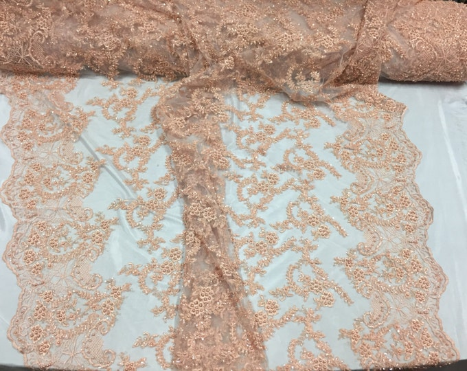 Majestic peach Shinny vine desing Embroider And Heavy Beaded On A mesh lace-prom-nightgown-decorations-dresses-sold by the yard.
