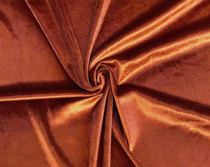 """Rust 60"""" Wide 90% Polyester 10 present Spandex Stretch Velvet Fabric for Sewing Apparel Costumes Craft, Sold By The Yard."""