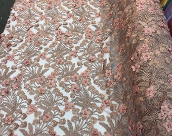 Rose gold 3d floral design embroidery with pearls and sequins on a mesh lace-dresses-fashion-apparel-prom-nightgown-sold by the yard.