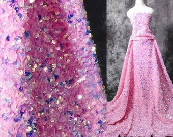 Pink Iridescent stretch velvet with luxury sequins all over 5mm shining sequins 2-way stretch, sold by the yard.