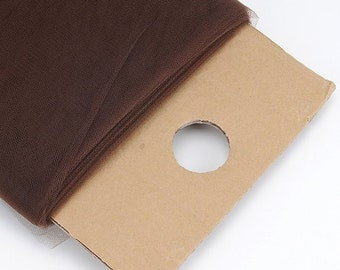 """Brown 54"""" Wide by 40 Yards Long (120 Feet) Polyester Tulle Fabric Bolt, for Wedding and Decoration."""