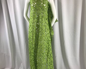 Lime green flowers embroider and hand beaded on a organza lace fabric-apparel-fashion-dresses-decorations-sold by the yard.