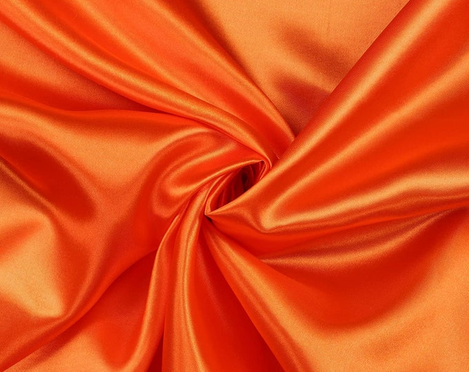 """Orange Charmeuse Bridal Solid Satin Fabric for Wedding Dress Fashion Crafts Costumes Decorations Silky Satin 58"""" Wide Sold By The Yard"""