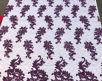 Eggplant sequin lace with cord embroidery flowers on a texture mesh-dresses-fashion-prom-nightgown-sold by yard-free shipping.
