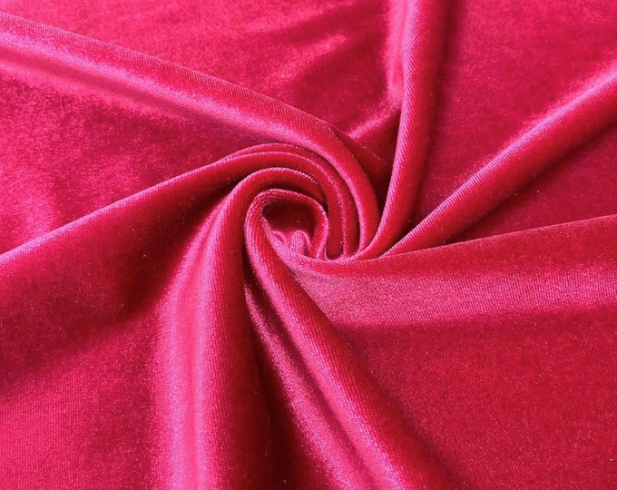 """Fuchsia 60"""" Wide 90% Polyester 10 present Spandex Stretch Velvet Fabric for Sewing Apparel Costumes Craft, Sold By The Yard."""