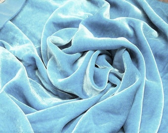 """Light Blue 60"""" Wide 90% Polyester 10 present Spandex Stretch Velvet Fabric for Sewing Apparel Costumes Craft, Sold By The Yard."""