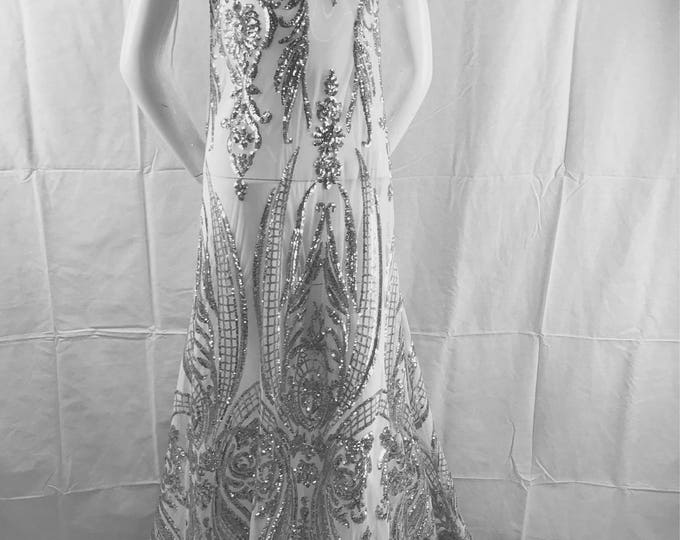 Silver empire design embroider with sequins on a 2 way stretch white mesh-wedding-bridal-prom-nightgown-sold by the yard.