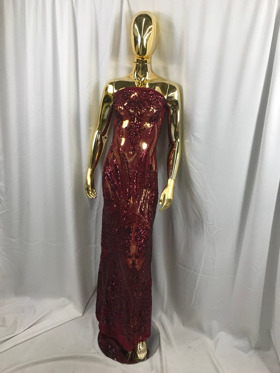 Burgundy princess design embroidery with sequins on a 4 way Stretch Mesh-dresses-fashion-prom-nightgown-apparel-sold by the yard.