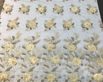 Champagne 3d floral design embroidery with pearls and rhinestones with metallic tread in a mesh-dresses-fashion-prom-nightgown-sold by yard.