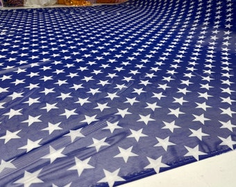 """Patriotic White star design on Royal Blue power mesh 4-way stretch 58""""-Sold by the yard"""