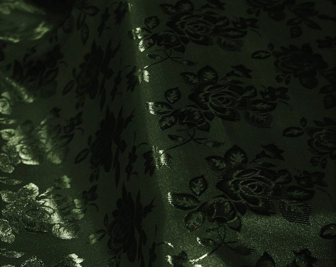 """Hunter Green 60"""" Wide Polyester Flower Brocade Jacquard Satin Fabric, Sold By The Yard."""