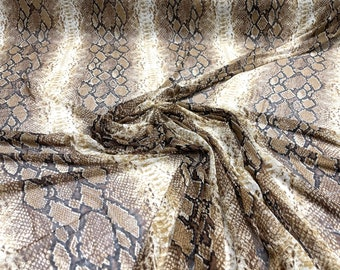 """Brown/ Tan/ Black sheer Rattle Snake design print on power mesh 4-way stretch 58"""" Sold by the yard"""