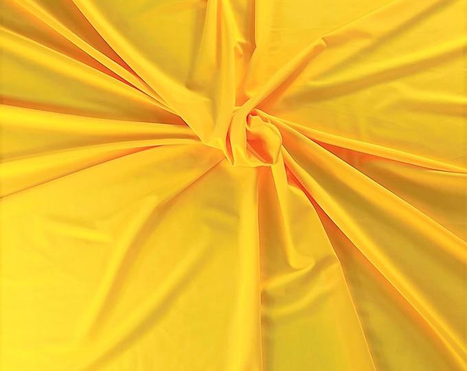 "Yellow Shiny Milliskin Nylon Spandex Fabric 4 Way Stretch 58"" Wide Sold by The Yard"