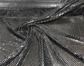 """Silver on Black 44/45"""" Wide Faux Sequin Light weight Knit Fabric Shiny Dot Confetti for Sewing Costumes Apparel Crafts Sold by The Yard."""