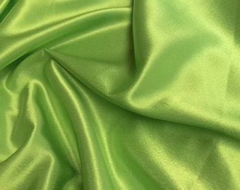 """Lime Green Crepe Back Satin Bridal Fabric Draper-Prom-wedding-nightgown- Soft 58""""-60"""" Inches Sold by The Yard."""