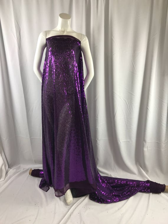 Purple mermaid fish scales-mini sequins embroider on a 2way stretch mesh fabric-dresses-apparel-fashion-sold by the yard.