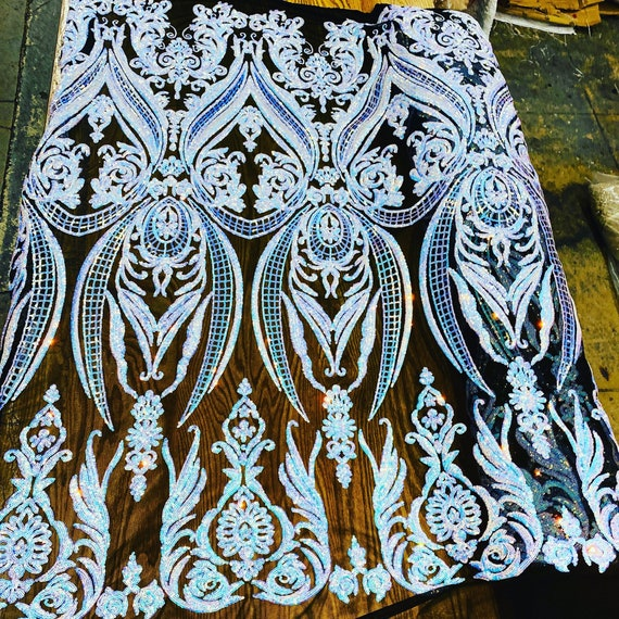 """Opal iridescent sequin damask design on a black 4 way stretch mesh-48""""-50""""prom-nightgown-sold by the yard."""