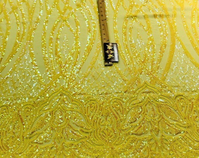 Yellow iridescent phoenix flames sequin design on a 4 way stretch mesh-prom-nightgown-sold by the yard-free shipping in the USA-