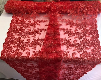 Red floral design embroidery with shiny iridescent sequins on a mesh lace-dresses-fashion-apparel-prom-nightgown-sold by the yard.